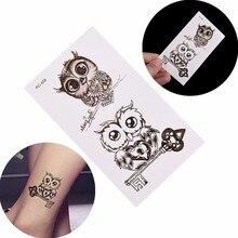 Мода женщины девушка временная татуировка наклейка сова животное тату наклейка макияж безопасный нетоксичный водостойкий временный татуировка