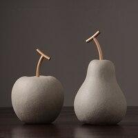 Apple/pear ornaments modern minimalist Fruits cement Ceramic fruit Plant Figurines & Miniatures home decoration furnishing craft