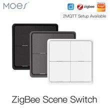 Кнопочный контроллер на 4 клавиши, беспроводной переключатель ZigBee с питанием от аккумулятора, 12 режимов работы, для устройств Tuya