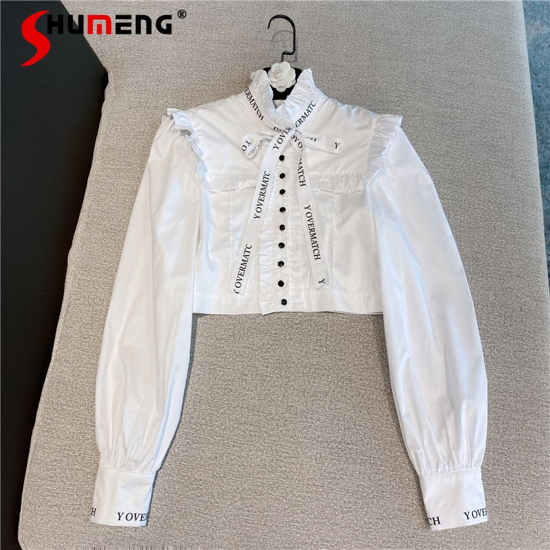 2021 Spring New White Long Sleeve Turtleneck Vintage Style Lace Letter Ribbon Bow Short Shirt Cropped Top Ladies Blouse