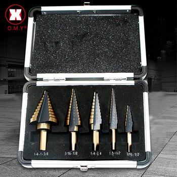 5pc Large Cobalt Hss Step Titanium Cone Drill Hole Cutter Bit Multiple 50 Sizes W/ Case Power Tool