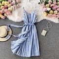 Vintage magro listrado impressão sexy cinta de espaguete bandagem vestido de festa de verão midi feminino cintura alta vestido praia na altura do joelho vestido