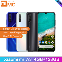 "Original Xiaomi Mi A3 6.088"" AMOLED 4GB 128GB 48MP Mobile Phone Snapdragon 665 Octa Core In screen Fingerprint 4030mAh Cellphone"
