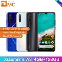 "Original Xiaomi Mi A3 6.088"" AMOLED 4GB 128GB 48MP Mobile Phone Snapdragon 665 Octa Core In screen Fingerprint 4030mAh Cellphone"