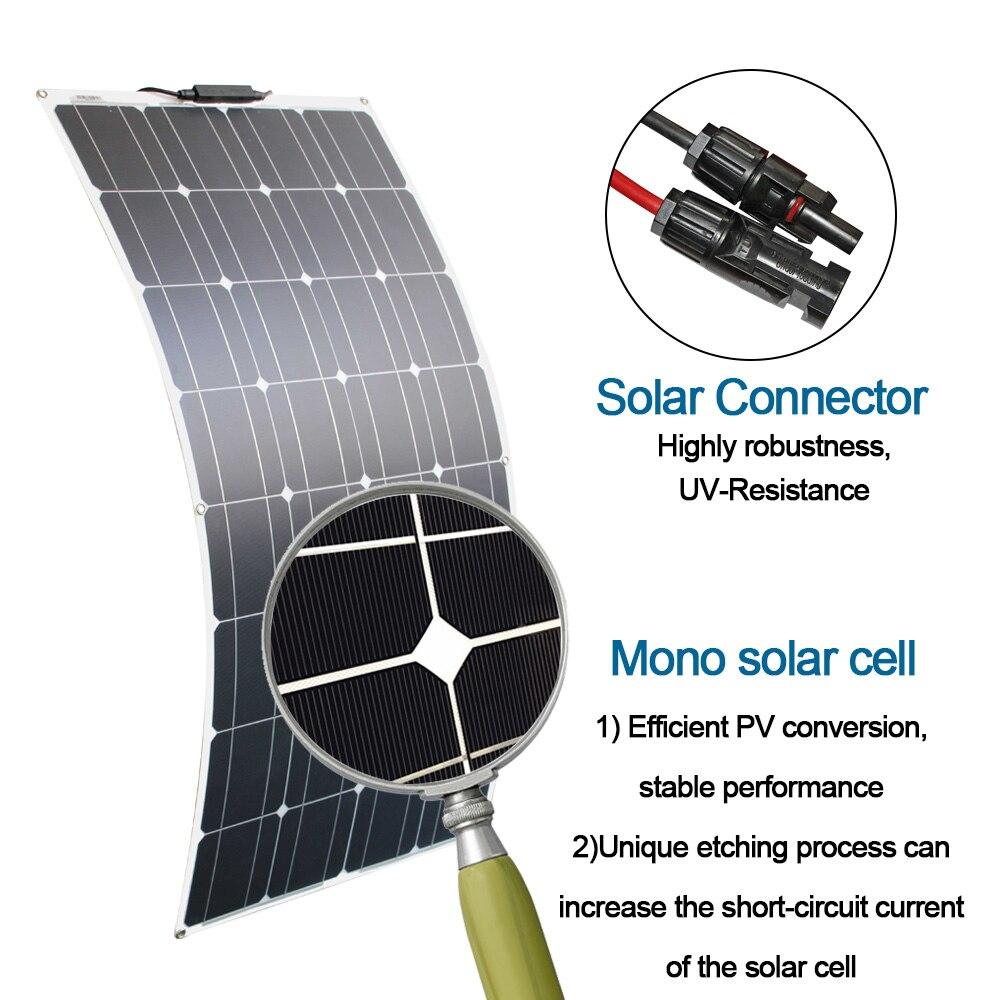 4 pièces 100 watt panneaux solaires haute qualité panneau solaire kit module 100 w flexible panneau solaire 200w 300w pour la maison rv toit bateaux - 5
