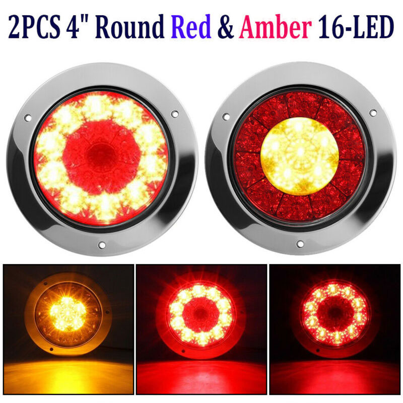 2X 4 Round Red Amber 16-LED Truck Trailer Brake Stop Turn Signal Tail Lights