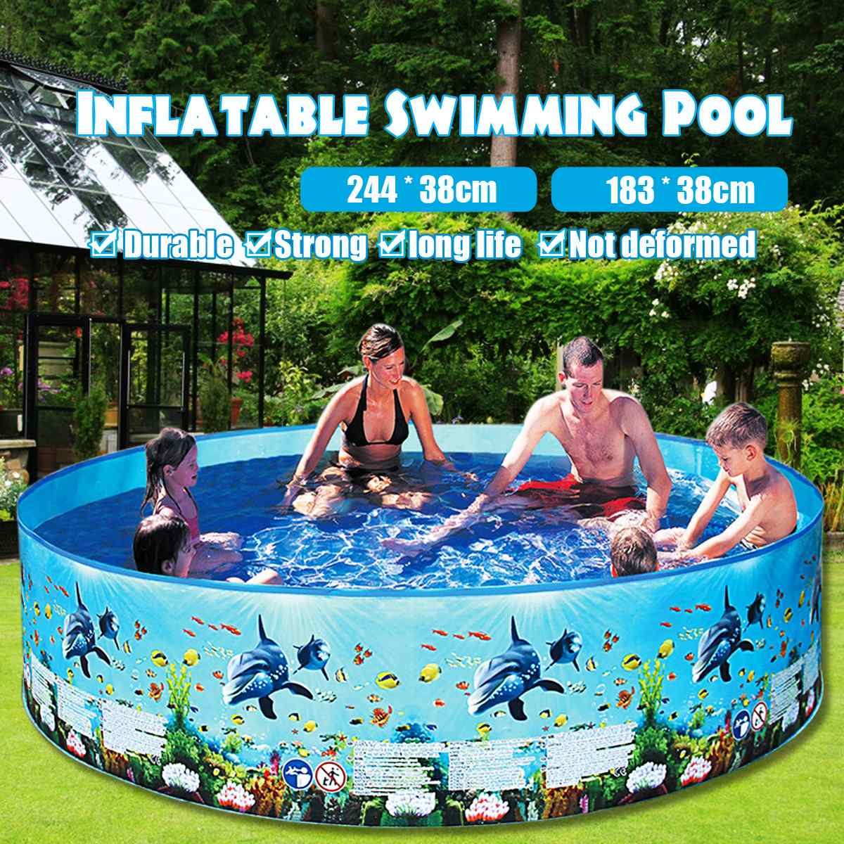 183/ 244 Water Injection Family Home Use Paddling Pool Children Bathing Tub Round Swimming Pool Kid Inflatable Pool For Adults