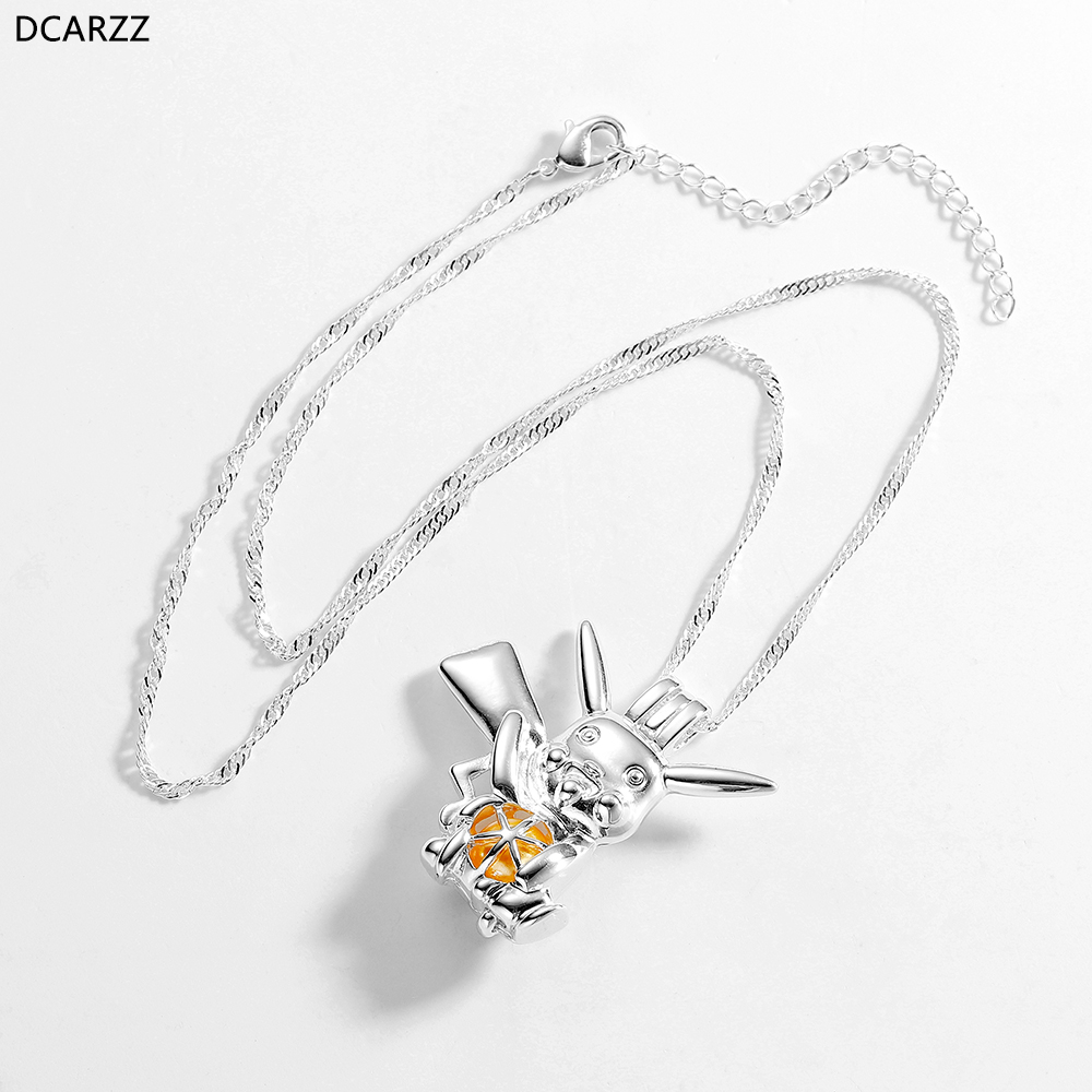 Silver Plated 3D Bee Pearl Beads Cage Open Locket Pendant Necklace Fun Gifts