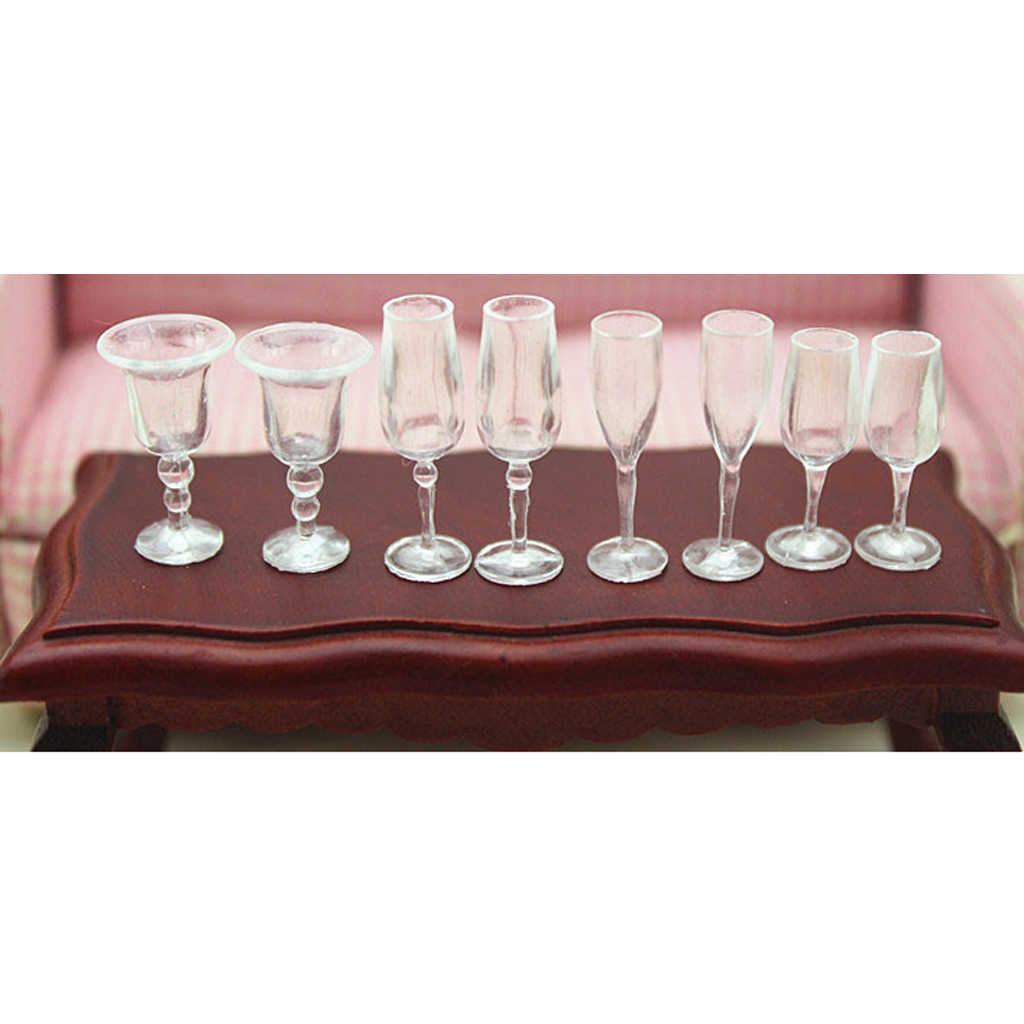 1:12 Dollhouse Accs 8x Miniature Goblet Wine Glasses Champagne Cups Model Silver