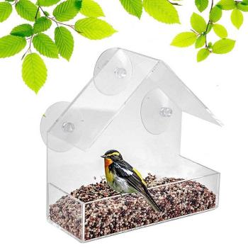Transparent acrylic bird feeder parrot fountain outdoor bird feeder on glass Sucker feed bird pet feeder 30N29 2