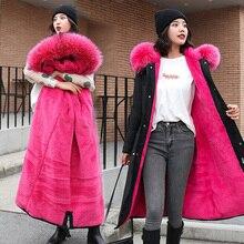 Fashion Autumn Warm Winter Jackets Women Fur Collar Long Parka Plus Size Lapel Casual Cotton Womens Outwear Park XXXL