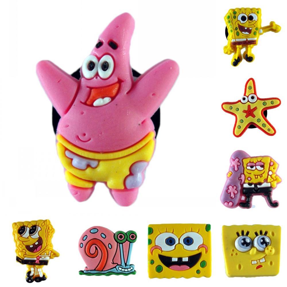 7pcs/set Sponge Figures Starfish Snail PVC Shoe Charms Shoe Accessories Shoe Decoration For Croc Jibz  Kid's Party X-mas Gift