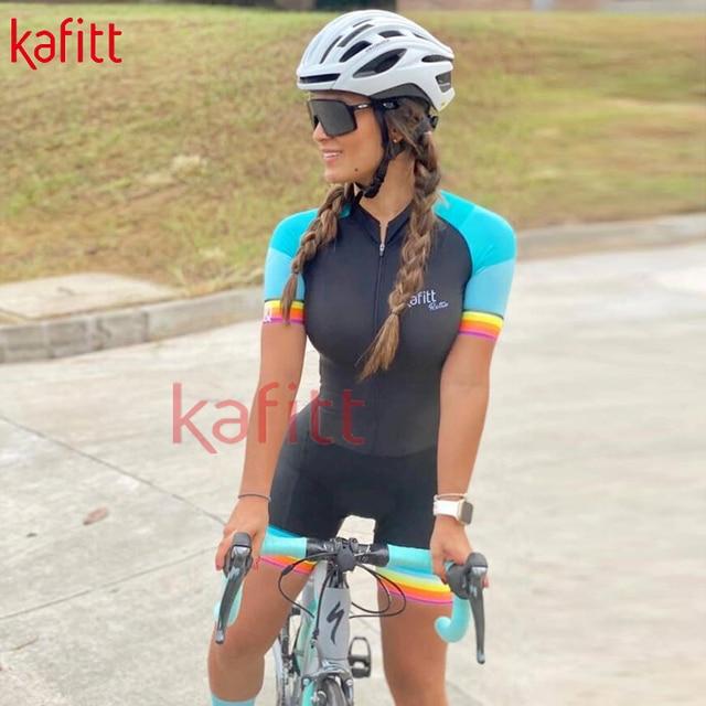 Kafitt verão novo de manga curta ciclismo wear terno macacão feminino triathlon ciclismo wear mountain bike macaquinho 1