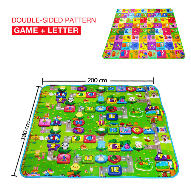 Double-Side Pattern Baby Crawling Play Mat Climb Pad Fruit Letters Developing Mat for Children Game Pad Baby Fun Activity Mat