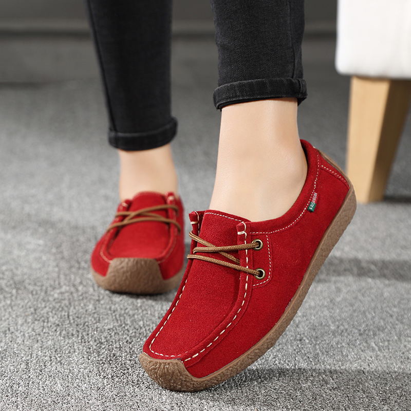 Women's Flats Summer Leather Loafers Casual Shoes Lady Driving Flat Moccasins Lace Up Round Toe Chaussure Femme hjm7
