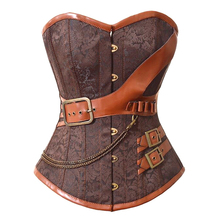 2019 burlesque lingerie gothic steampunk corset clothing Jacquard spiral steel boned Sexy bustier and top