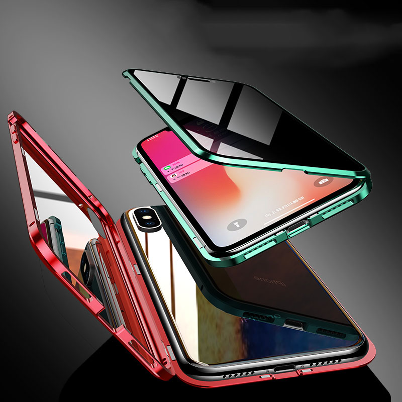 360 Protection vie privée verre magnétique métal étui pour iphone XS Max XR XS X 7 8 6 6S Plus anti-peeping étui pour iphone 11 Pro Max