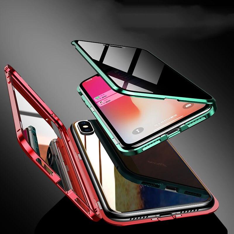 Anti-regard Magnétique En Métal étui pour iphone 11 Pro Max 11 Pro 11 XS Max XR XS X 7 8 6 6S Plus Confidentialité Verre Clair 360 Protection
