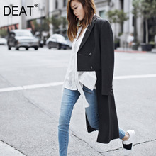 Wool Jacket Female Coat DEAT Single-Breasted Winter Short Autumn Long New And WJ40 Turn-Down-Collar