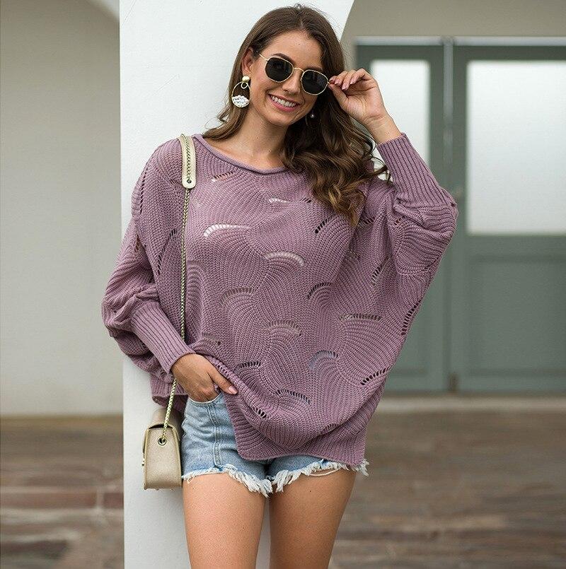 2019 autumn and winter sweater women hollow hook flower loose bat shirt