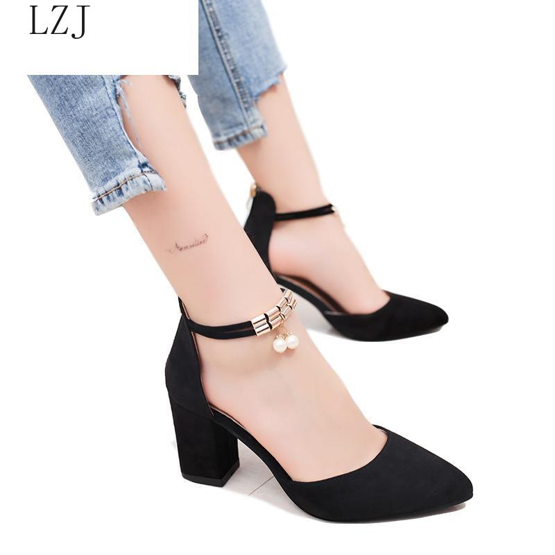 2020 Fashion Ankle Strap Women Casual Sandals Summer High Heel Shoes Buckle Ladies Office Work Sandalias Shoes Gladiator Gold
