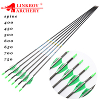 12pcs Linkboy Archery Carbon Arrows Spine400 700 ID3.2mm 120gr Tips 1.75inch Plastic Vanes for Recurve Longbow Bow Hunting