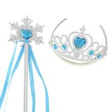 Neve gelo aniversário dia das bruxas criança menina dos desenhos animados personagens rainha princesa pente de cabelo coroa magia festa de fadas varinha ferramentas cosplay