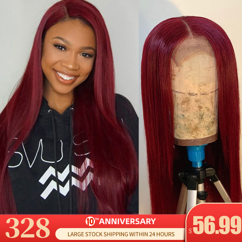 Remyblue 99J Red Burgundy Lace Front Human Hair Wigs 13*4 Straight Hair Lace Front Wig 150 Ombre Peruvian Remy Human Hair Wigs