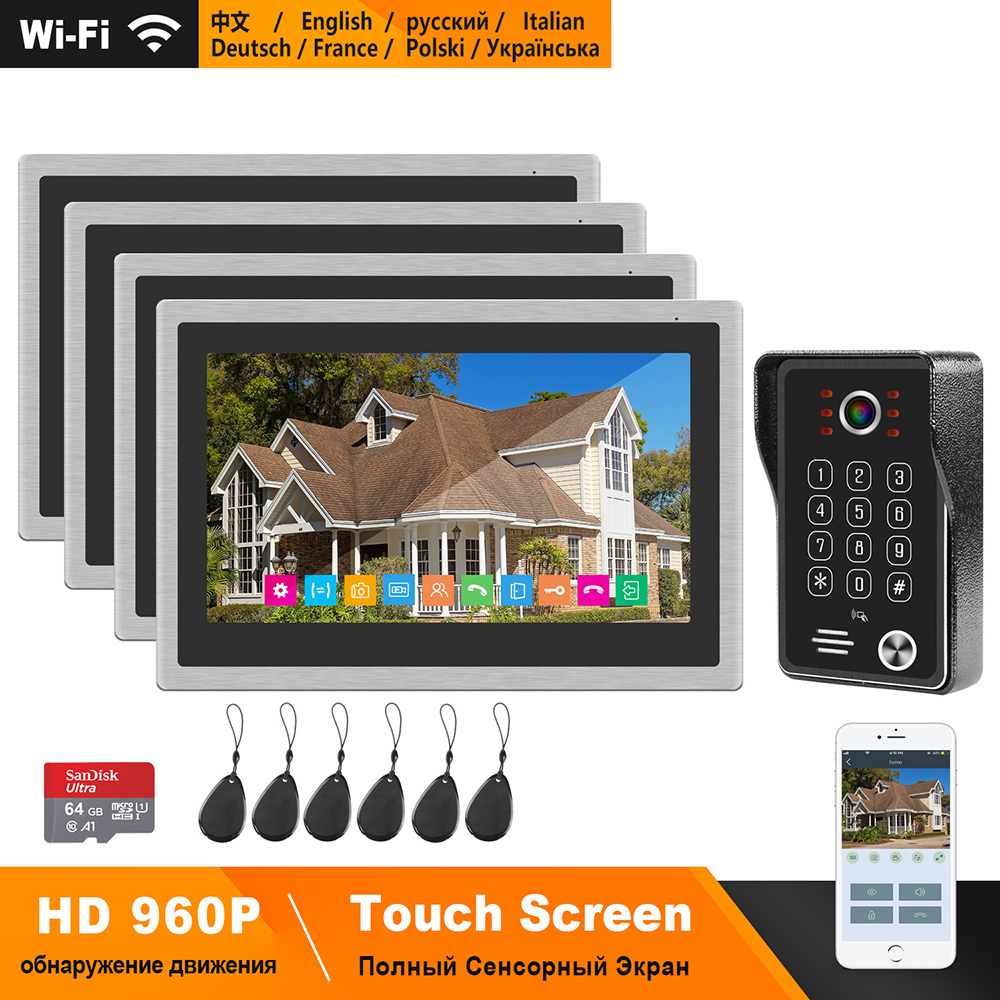 HomeFong WIFI Video Intercom System Kit HD 10 Inch Touch Screen Support Smart Phone Real-Time Control IP Video Doorbell For Home