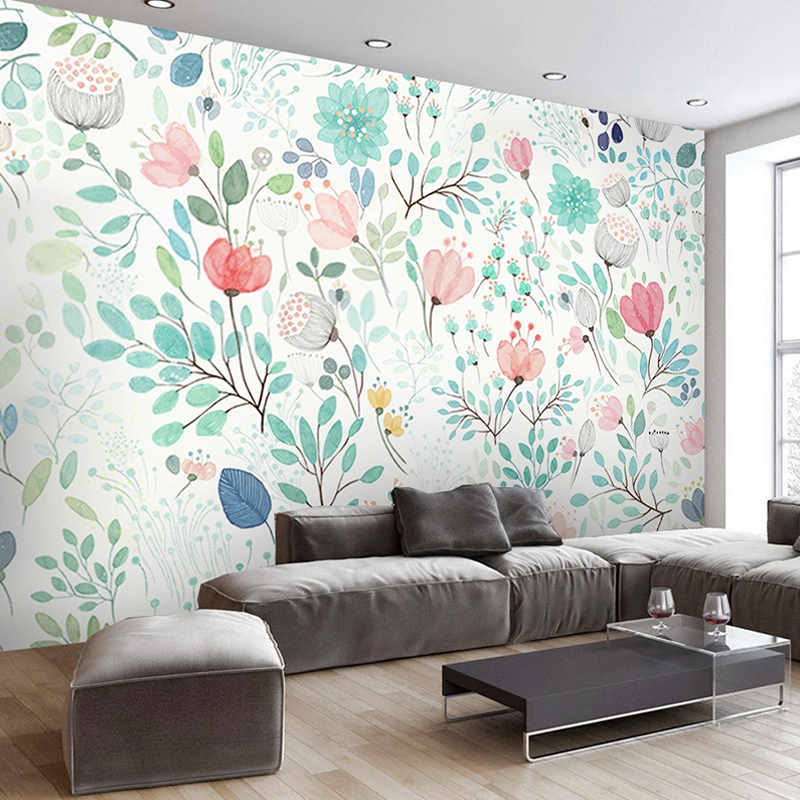 Custom Wall Mural Papel De Parede 3D Watercolor Floral Flower 3D Photo Wallpaper For Living Room Bedroom Background Home Decor