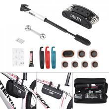 цена на DUUTI  Multifunction Bicycle Repair Kits Bag MTB Road Bike Cycling Equipment with Pump Crowbar 16 in 1 Wrench Tools Set