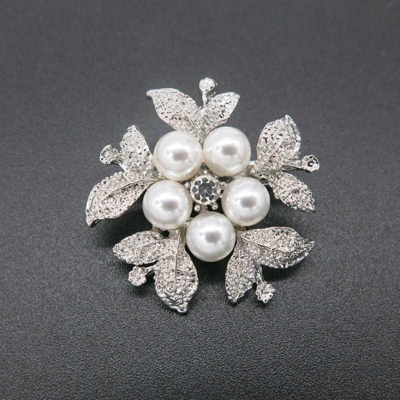 Fashion Bunga Bros Mutiara Wanita Gemerlapan Perak Pin Bros untuk Wanita Pernikahan Gaun Lencana Aksesoris Perhiasan