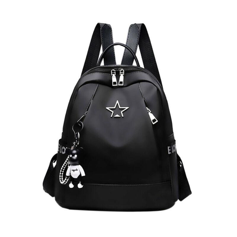 High Capacity Backpack Women Oxford Travel Shoulder Bag Soft Rucksack Ladies Oxford Back Pack Black Anti-thief Pendant Bagpack