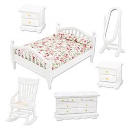 Набор мебели для кукольного домика 1:12, 6 шт., комплекты аксессуаров для кукольного домика, деревянная двойная кровать, длинное зеркало, стол, ...