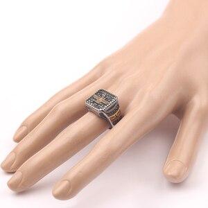 Image 3 - בציר דתי טבעת האיסלאם איראן Faravahar Ahura מאזדה טבעות זהב צבע הזורואסטרית טבעת גברים זכר היפ הופ תכשיטי מתנות