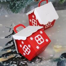 10 adet noel şeker kutusu çanta noel baba hediye kutusu DIY kurabiye ambalaj torbası Merry Christmas parti dekorasyon yeni yıl çocuklar hediye