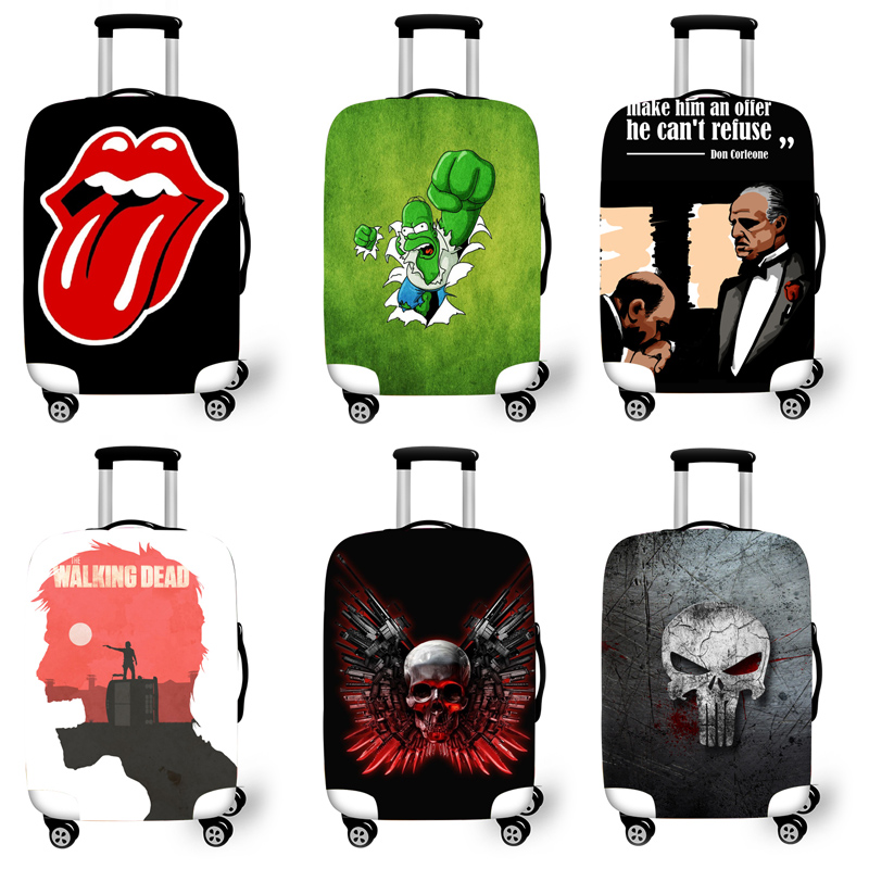 Elastic Luggage Protective Cover Case For Suitcase Protective Cover Trolley Cases Covers 3D Travel Accessories Ghost Pattern Y12