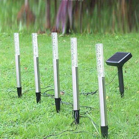 lampadas acrilico bolha caminho gramado paisagem decoracao
