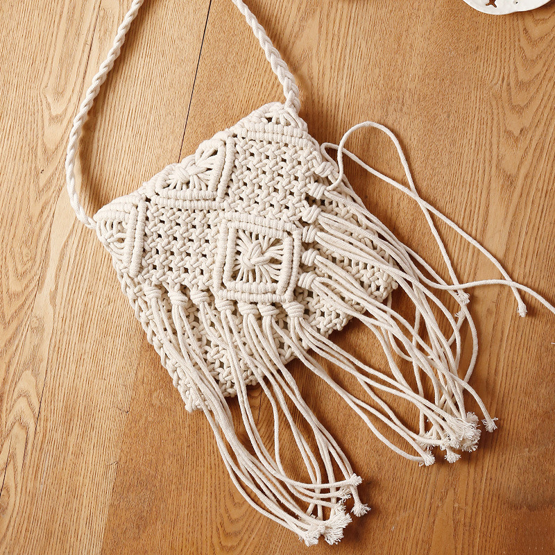 Lovevook Woven Bags Women Beach Bags For Summer Envelope Bags Flap Crossbody Bags For Ladies 2020 Bohemia Cotton Rope Tassel