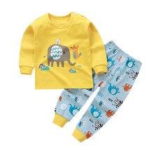 Cotton Children's Underwear Pajamas Long Johns Sleepwear Long Sleeve Shirts + Pants Infant Autumn Baby Boys Girls Clothes Set