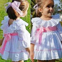 Vestido de encaje de otoño para niña pequeña, tutú de princesa para fiesta de Boda de Princesa, Mini vestidos blancos con lazo