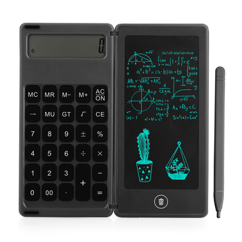Foldable Calculator & 6 Inch LCD Writing Tablet Digital Drawing Pad 12 Digits Display with Stylus Pen Erase Button Lock Function 1
