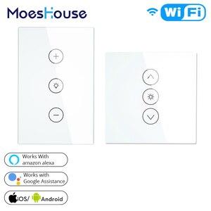 Image 1 - Wifi akıllı duvar dokunmatik ışık dimeri anahtarı ab/İngiltere/abd standart APP uzaktan kumanda Amazon Alexa ile çalışır ve google ev