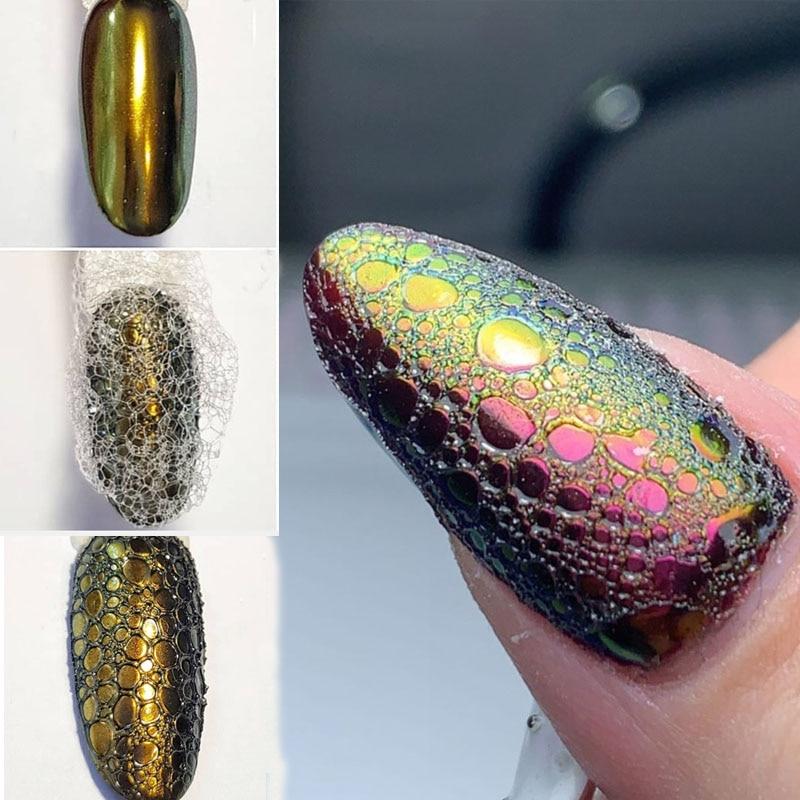 Voronoi Nails Soap Foam Nail Art Bubble Design Chrome Pigment Powder Base Top Gel Beauty Salon Supply