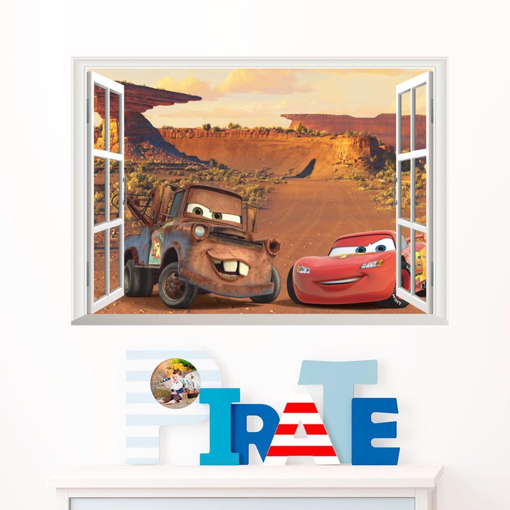 Cartoon Mcqueen Cars 3D Wall Stickers for Kids Room Boys Fake Window PVC Wallpaper Murals Sticker Decals Room Decoration Nursery 19