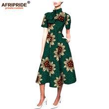 2017 High Street african women dress AFRIPRIDE private custom short sleeve mid-calf length ruffled neck wax cotton A722597