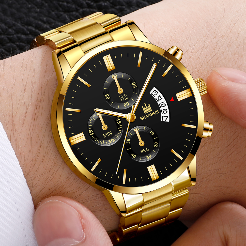 2020 Men Luxury Military Business Quartz Watch Gold Stainless Steel Band Men Watches Date Calendar Male Clock Relogio Direct Wat