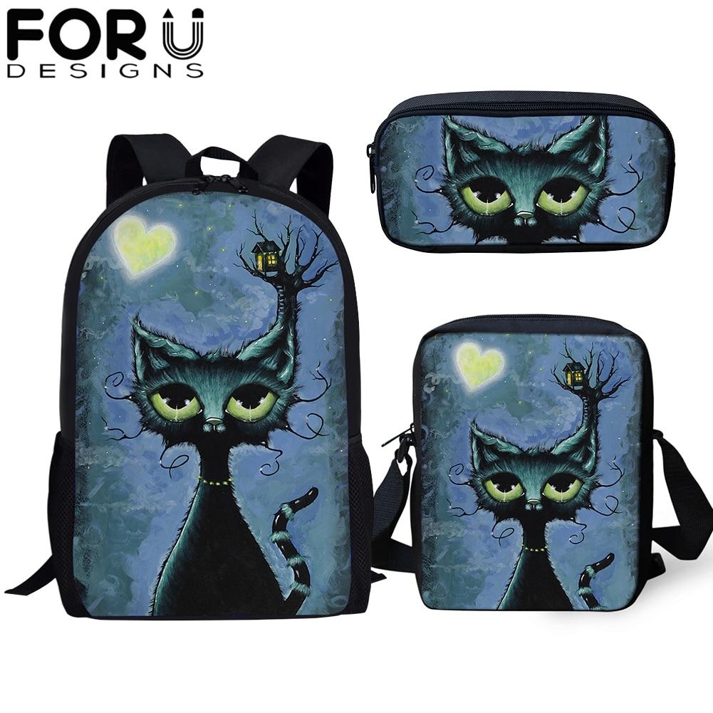 FORUDESIGNS 3Pcs/set Custom Image School Bag Students Gothic Cat Black Orthopedic Bookbag for Girls Boy Travel Backpack Rucksack