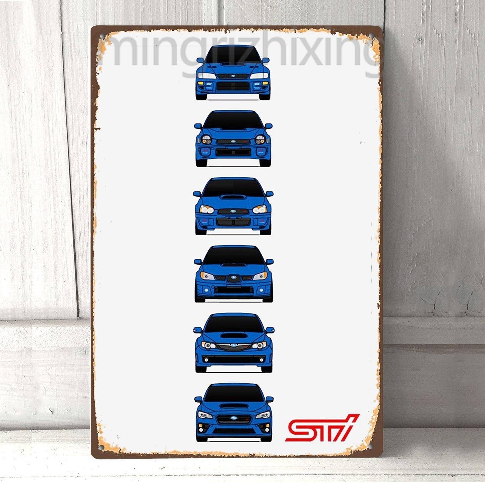 Subaru WRX STI Evolution, cartel Vintage Retro de Metal de estaño, letrero de Metal con Pin Up, decoración de Metal, cartel de pared artística, decoración de pared|Placas y señales|   - AliExpress