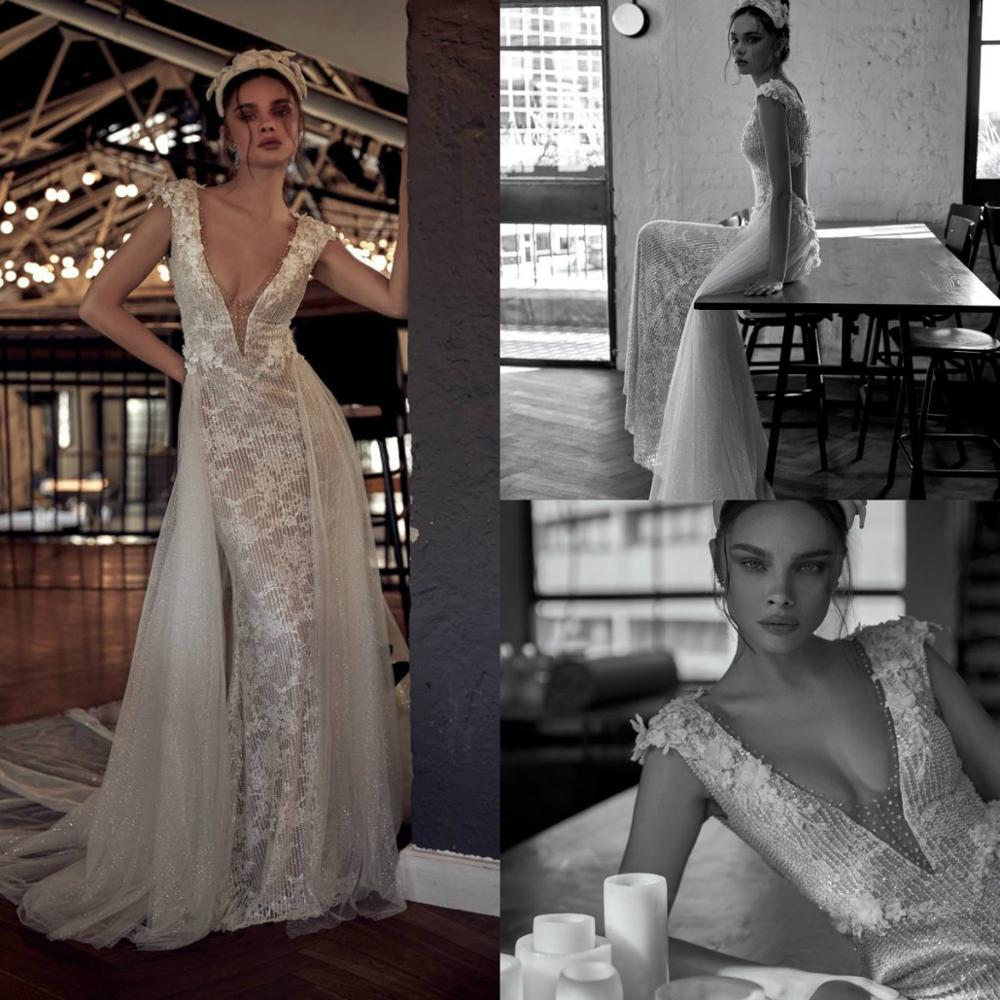 2020 Wedding Dresses V Neck Capped Sleeve Lace Applique Beading Bridal Gowns Sexy Hollow Back Sweep Train Mermaid Wedding Dress